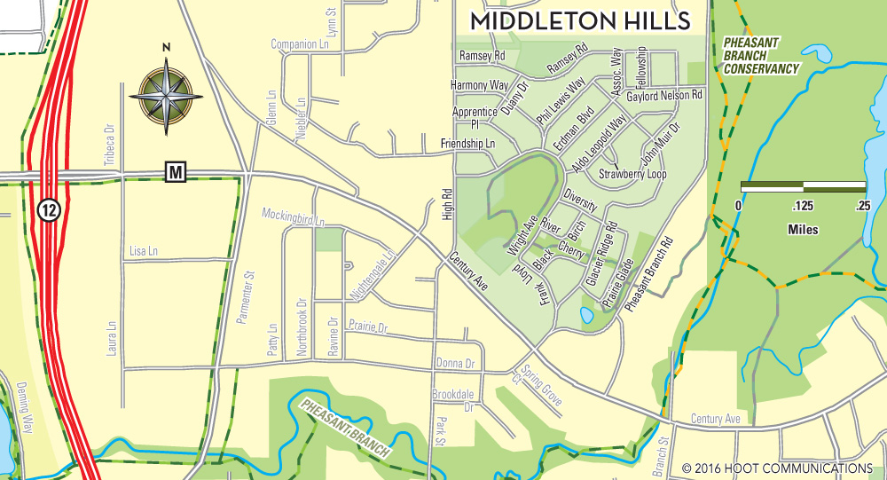 Map of Middleton Hills, Middleton, WI